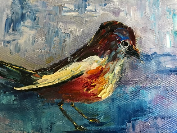 Bird Painting, Red Robin Art, Small Oil Painting, Bright Red, Country Rustic Art
