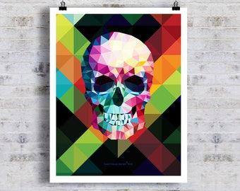 "Geometric Skull 02, 11"" x 14"" Fine Art Print, Abstract Skull, Anatomy print, Skull Art, Pop Art Skull, Skull Decor, Colorful Modern skull"
