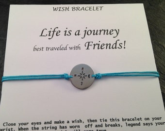 Compass Bracelet, Wish bracelet, Life is a journey, Gifts on a budget,Best friend,Travel Lover, Birthday gift,