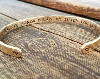 Maid of Honor Gift - Wedding Party Gift - My Maid of Honor Today, My Sister For Life - Maid of Honor Bracelet - Sister Bracelet