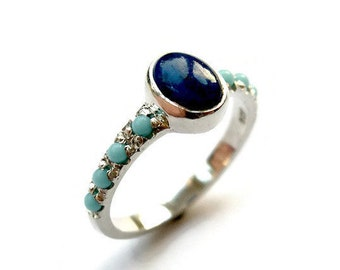 Lapis Sterling Silver Ring, Turquoise Silver Ring, Gemstone Ring, Oval lapis Ring