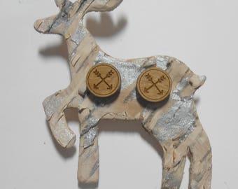 Wood Arrow Earrings Titanium Hypoallergenic Birch Bark Bird Deer Moose