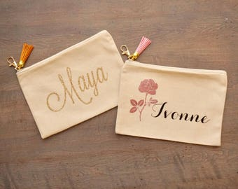 Personalized Cosmetic Bag Makeup Bag w/ Tassel Keychain - 8x5.5 inches | Bridal Party Proposal Gift Box | Custom Canvas Pouch | Bridesmaid