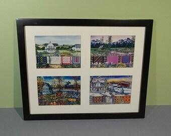11x14 Four Seasons Framed Diane Phalen Art Prints White Mat Black Wood Americana Heartland Landscape French Country Cottage Quilt Design NOS