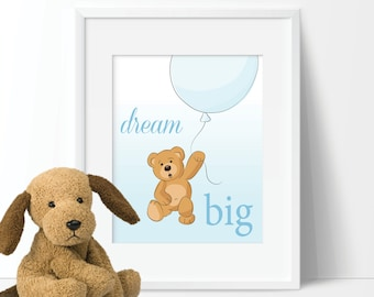 Baby Boy Nursery Art Print - Teddy Bear Nursery Art. Bear Bedroom Art. Boy Nursery Decor. Teddy Bear Art. Dream Big. Teddy Bear Decor S-390)