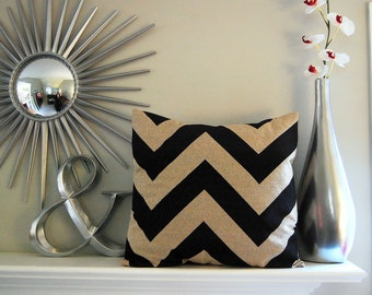 Pillow cover One black and beige chunky chevron pillow cushion cover