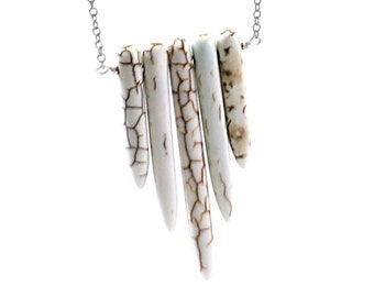 Stone spikes necklace tribal necklace, white bohemian necklace boho, rustic necklace