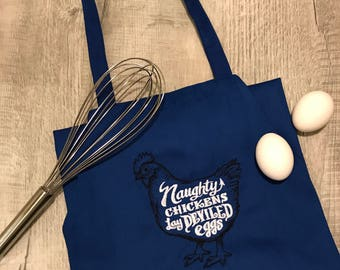 Naughty Chickens Make Deviled Eggs Apron, Naughty Chicken Apron, Embroidered Apron, Quick Ship Apron, Blue Apron, Red Apron, Black Apron