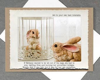Funny Bunny Card • Dark Humor Sarcastic Greeting Card • All Occasion Rabbit Greeting Card • Blank Inside Card • Motivational Greeting Card