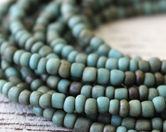 Indonesian Rustic Tribal Matte Seed Beads - Jewelry Making Supply (~5mm) Teal Green - Choose Amount