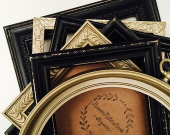 Gold and Black Frame Set; Gold Gallery Wall Frames Set; Distressed Frame Set; Golf Picture Frames Set; Photo Gallery;