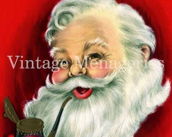 Vintage Santa Claus with Pipe