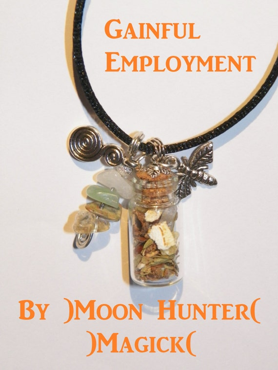 Gainful Employment Get a Job Charm Bottle Amulet Necklace Pagan Wicca Reiki Ritual