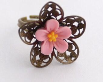 Pink Flower Ring, Fun Floral Jewelry, Adjustable Brass Filigree Ring, Fun Pink Ring, Spring Jewelry, JewelryFineAndDandy, Best Friend Gift