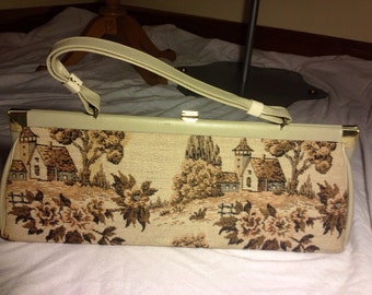 Vintage long tapestry clutch