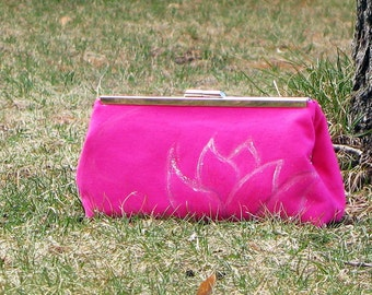 Clutch Purse Pink with Blue and White Lotus