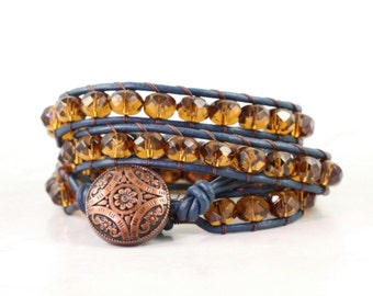 Topaz Beaded Wrap Bracelet Cognac Boho Jewelry Fall Fashion Amber Bohemian Jewelry Wrap Autumn Style Boho Jewelry Blue Leather Wrap Bracelet