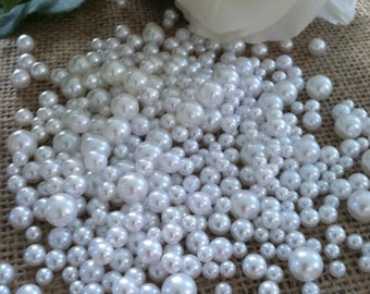 400 Pcs No Hole Pearl Beads White Size Confetti & Table Scatters