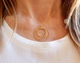 Long collier en cercle, collier géométrique, sautoir, pendentif, collier Long fin