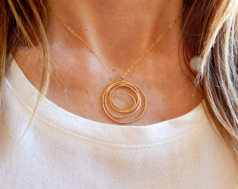 Long Circle Necklace, Geometric Necklace, Long Necklace, Pendant Necklace, Dainty Long Necklace