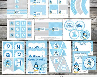 Penguin -DIY Printable Party Package -Birthday -Baby Shower -Banner -Favor Tags -Tent Cards -Cupcake Toppers -Winter Onederland -Christmas