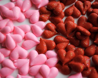 Valentine Royal Icing Hearts- Small in Red or Pink with Sparkles (50)