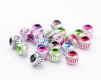 20 beads, 8mm, aluminum, large hole