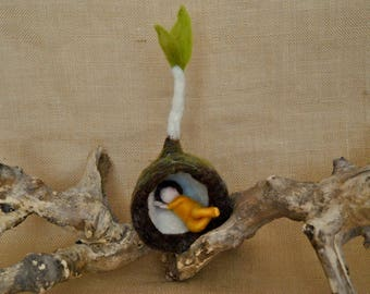READY TO SHIP Spring Bud  Waldorf inspired needle felted flower-doll: Yellow root child