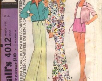 McCalls 4012 Vintage Pattern Misses Jacket and Pants UNCUT  Size 12