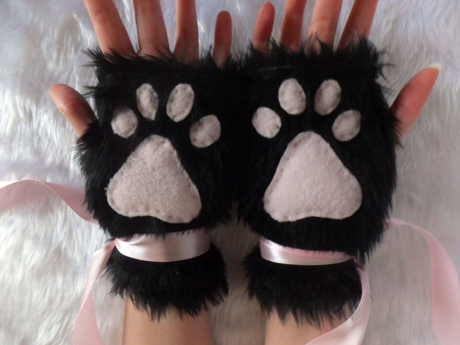 ?zoom & Cute Black u0026 Pink or Colour Choice Furry Neko Kitty Cat Wolf