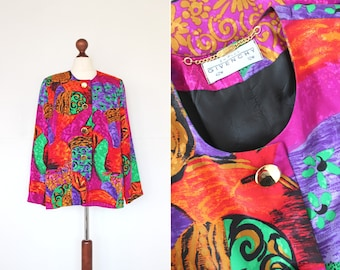 Vintage 1980s Givenchy Jacket / Givenchy En Plus / 80s / Multicoloured Abstract Print Blazer Jacket / Size 14 / 42