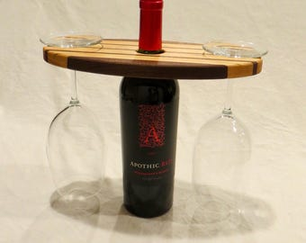 Wooden wine glass display, wine gift