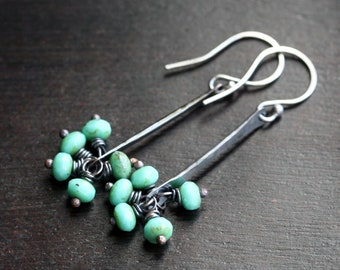 Handmade long copper cluster earrings, aqua green Czech glass beads, wire wrapped, beaded, dangle, oxidized, stick, Mimi Michele Jewelry