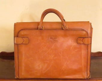 Etsy BDay Sale Rolla 1975 Collection Leathergoods Briefcase Tote Carryall in Buttery Tan Leather - VGC