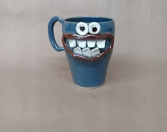 NEW. Travel Coffee Cup. Ceramic Pottery Tall Mugs. Hilarious Mothers Fathers Day Gift for Coffee Lovers. Extra Large Oversize 20 ounce Glass