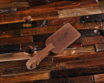 Personalized Monogrammed Engraved Leather Luggage Travel Tags Gifts