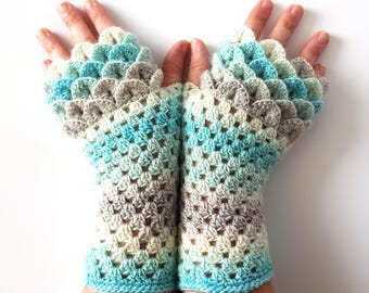 OOAK Dragon gloves Fingerless gloves Womens gloves Winter gloves handmade wrist warmers arm warmers texting gloves Driving gloves