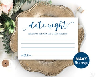 Navy Blue Date Night Card Template, Printable Wedding Date Night Card, Editable Text, Modern Calligraphy VW11
