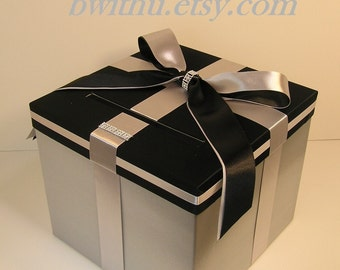 Wedding Card Box Silver and Black Gift box Money Card Holder-Customize your color
