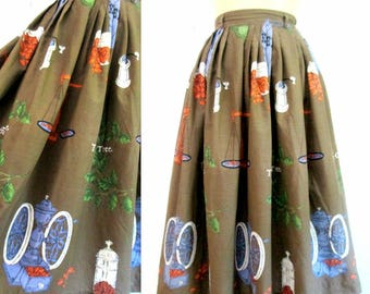 1950s Kitsch Cotton Skirt // Mid Century Circle Swing Skirt XS/Small Peck & Peck // The Coffee Tree