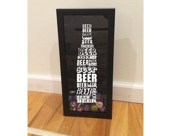 """Bottle Cap Holder Shadow Box - Beer Typography - Font Types Design - Black (6"""" x 14"""") - Vinyl Decal Gifts, Home Bar Accessories"""