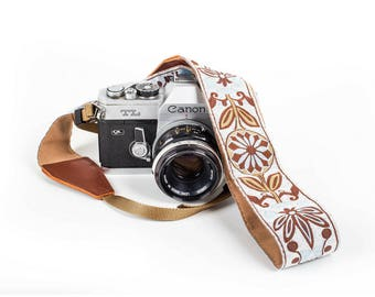 DSLR Camera Strap - White Woven Camera Strap - Adjustable Strap For Canon, Nikon, Sony and More. Weave Camera Strap Gift for Her and him