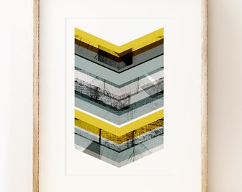 Abstract Grey & Yellow Chevron art print