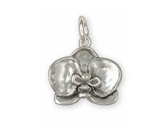 Orchid Jewelry Sterling Silver Orchid Charm Handmade Flower Jewelry OR2-C