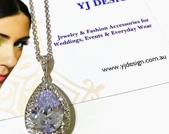 Teardrop Bridal Necklace, Bridesmaid Necklace, Cz Wedding Jewelry, Cubic Zirconia Wedding Necklace, Bridesmaid Gift for Her, MANDOLIN