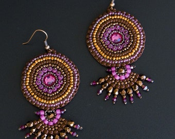 Bead Embroidered Earrings with Swarovski Crystals in Fuchsia, Metallic Orange, Red Brown. Round Beaded Fan Shaped Copper Earrings S156