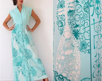 Vintage 60s 70s Alfred Shaheen Mint Green Graphic Mandolins Fans and Lanterns Novelty Print Button Front Maxi Dress (size small, medium)