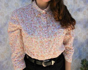 Vintage 1970s Baby Pink Floral Mick Jagger Inspired Button Up Blouse