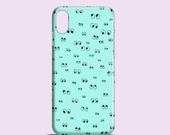 Minty Googly eyes phone case / fun iPhone X case, iPhone 8, iPhone 7, iPhone 7 Plus, iPhone Se, iPhone 6S, iPhone 6, iPhone 5/5S, Samsung S7