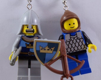 Swordsman with Shield and Archer Dangle Earrings Handmade from Lego bricks